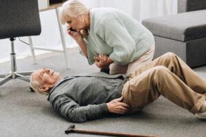 Alpine Cardiology Senior man having heart attack wife calling 911